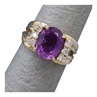 Size 6.5 Purple Amethyst & Diamond 14K Gold Ring