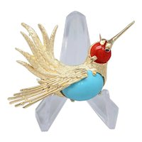 Vogue 1960s Figural Hummingbird Coral & Robins Egg Turquoise 14K Gold Brooch