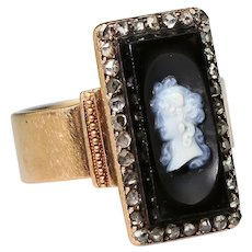 Early Victorian Black Onyx Hardstone Cameo Rose Cut Diamond Halo 14k Gold Ring