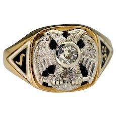 32nd Order Scottish Rite 1/3ct Diamond Platinum Double Eagle 14k Gold Ring Sz12