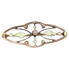 Chipped Antique Nouveau Diamond Natural Pearl & Enamel 10k Rose Gold Pin 1.8g