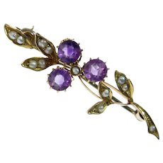 Amethyst & Seed Pearl Antique 9k Gold Pin