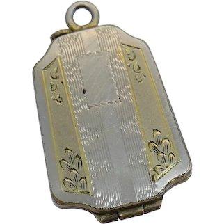 Art Deco Engine Turned Engraving Geometric White Gold Filled Locket