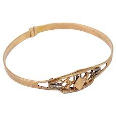 "7"" Diamond Shape Victorian Gold Filled Bangle Bracelet"