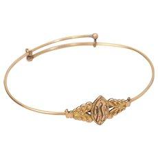 JM Fisher Co Victorian Engraved W Gold Filled Wire Bangle Bracelet