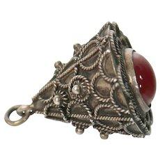 Etruscan Carnelian Bell Shaped Sterling Silver Charm