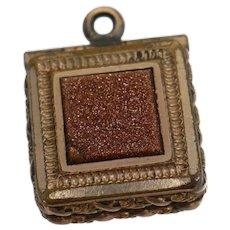 Victorian Goldstone & Onyx 2 Sided Hair Locket Pendant or Fob