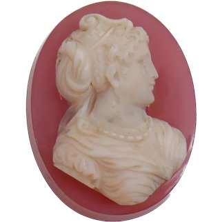 High Relief Hand Carved Hardstone Cameo of Victorian Lady