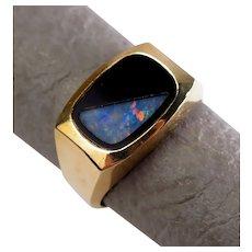 Size 10 Magic Glo Black Onyx & Opal 10K Yellow Gold Signet Ring