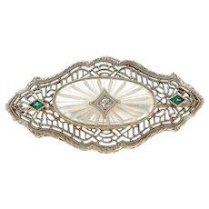 Art Deco Diamond & Carved Camphor 'Glass' 14K White Gold Brooch