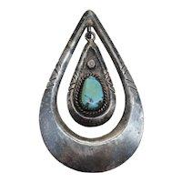 Navajo Martha Willeto Turquoise Swinging Teardrop Sterling Silver Pendant