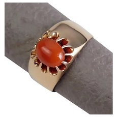 Size 8 Austro-Hungarian Red Coral 14k Rose Gold Belcher Ring