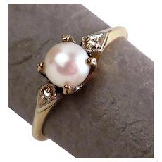 Size 8 Prong Set Akoya Pearl & Diamond 14K Yellow Gold Cathedral Ring