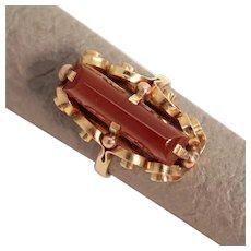 Size 7.5 Austrian Carnelian Baguette Bead & Spiral 14K Gold Ring