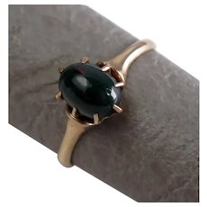 Size 8 Ostby & Barton Victorian Claw Prong Set Bloodstone 10K Rose Gold Ring