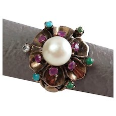 Size 5.5 Pearl Ruby & Persian Turquoise Cluster Rose Gold Harem Ring