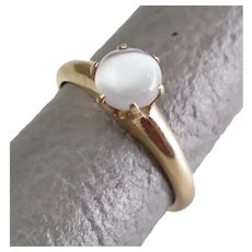 Size 5.25 Woods & Son Art Carved Cats Eye Moonstone 14K Gold Solitaire Ring