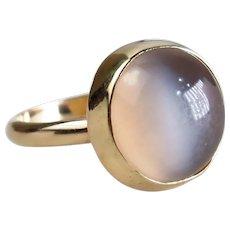 Size 6 Bezel Set Cats Eye Moonstone 14k Yellow Gold Ring