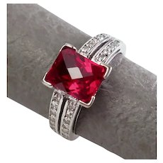 Size 6.25 Red Checkered Synthetic Ruby Rectangle & Diamond 10k White Gold Ring