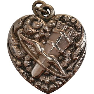 Victorian Love Token Rose Cut Diamond Puffy Heart Gold Fill Charm Eros Bow & Arrow