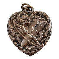 Victorian Love Token Rose Diamond Puffy Heart Gold Fill Charm Eros with Bow