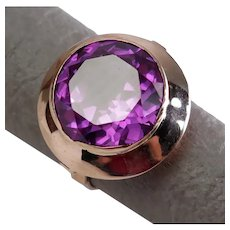 Size 7 Egypt Synthetic Color Change Sapphire 12k Rose Gold Ring