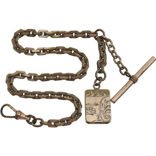 Antique Gold Filled Watch Chain with Locket Fob