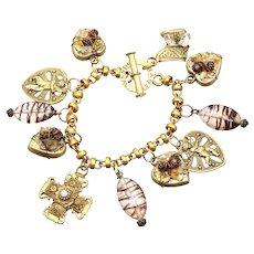 Franck Herval Cherub heart & Cross Charm Bracelet