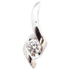 Sirena 1/8 Ct Diamond Solitaire 14K White Gold Swirl Pendant