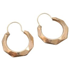 Geometric Faceted Yellow Gold Filled Hoop Earrings