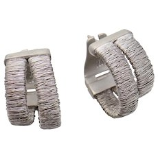 H Stern Coiled Wire & White Satin 18K Gold Hoop Earrings