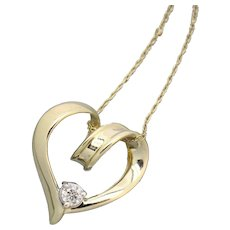 """18"""" Diamond Solitaire Looping Heart 14K Gold Pendant Necklace"""