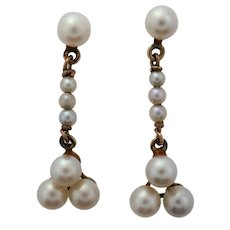 Art Deco Akoya Pearl Drops Rose Gold Dangle Earrings