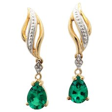 Chatham Lab Created Green Emerald 10K Gold Drop Earrings