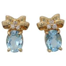 Blue Topaz & Diamond Ribbon Bow Tie 14K Gold Earrings