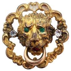 Antique Lion Paste Door Knocker Gold Filled Pin