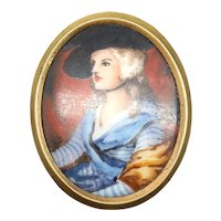 Painted Portrait Pin Limoges French Lady with Large Hat