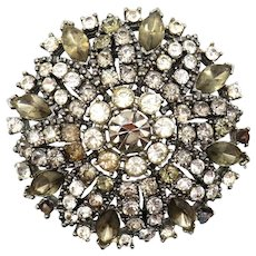 Weiss Smoky Rhinestone Cluster Circle Pin Missing 2 Stones