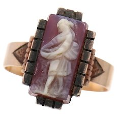 Sz 6.25 Antique Full Figure Maiden Micro Cameo Rose Gold Ring