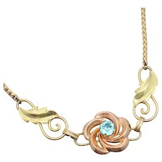 """15.7"""" Van Dell Retro Two Tone Gold Filled Flower Necklace"""