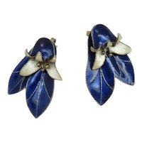 Kinetic Vintage S925 Norway Blue Enamel Sterling Silver Bell Flower Earrings