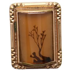 Single Dendritic Agate Lone Tree Gold Filled Cufflink / Button Stud