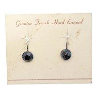Genuine French Hard Enamel Sterling Silver Clip on Earrings