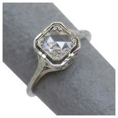 Rose Cut Art Deco Diamond Solitaire 18K Gold Engagement Ring