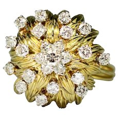 Size 7.5 Diamond Cluster 1-1/2 ctw Leaf Dome 18k Gold Ring