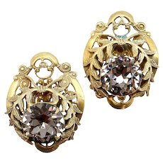 Sandor Olive Branch & Gray Rhinestone Non-pierced Earrings