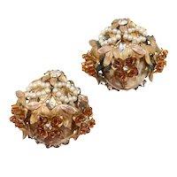 Sandor Faux Pearl Flower Cluster Non-pierced Earrings