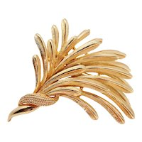 1960s Boucher Foliate Wheat Spray Numbered Goldtone Brooch