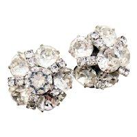 Kramer White Rhinestone Cluster Non-pierced Earrings