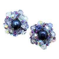 Sandor Blue AB Crystal Cluster Non-pierced Button Earrings
